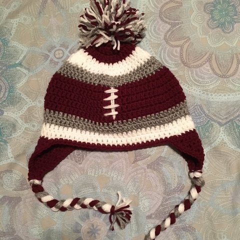 Crochet Football Earflap Hat Made By Me Not Selling This I Depop