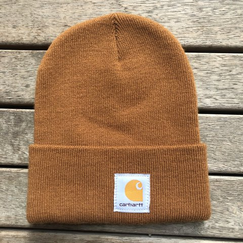 Carhartt tan colour beanie. Excellent used condition. One - Depop a2007ed9502