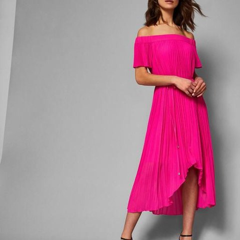 5dfee1f70 Ted baker off the shoulder pink pleated maxi dress in a size - Depop