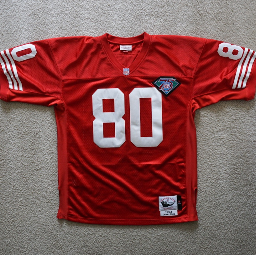 info for 3b2a9 61348 Mitchell and Ness San Francisco 49ers Jerry Rice... - Depop