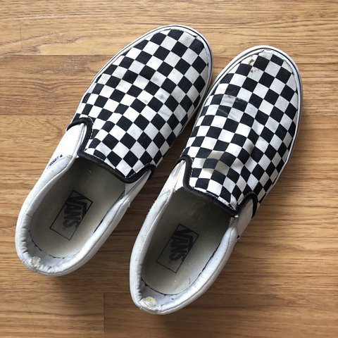 8ecceb7045a CheckerBoard Slip-On Vans in Black Off White 11