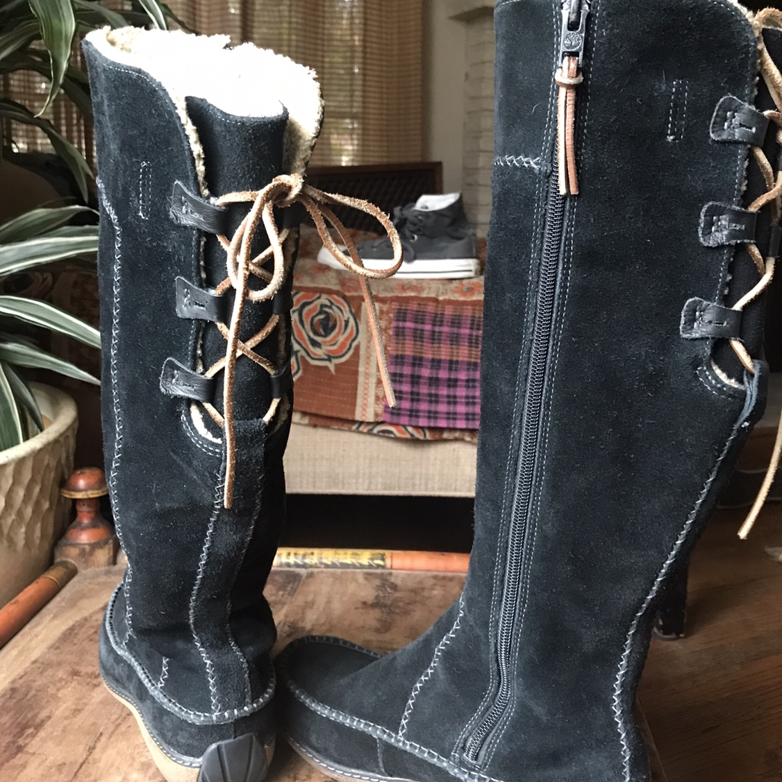 Timberland black suede knee high boots with amazing