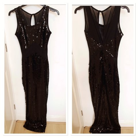 4603a714689 Asos petite size 4 floor length sequin maxi dress. Mesh and - Depop