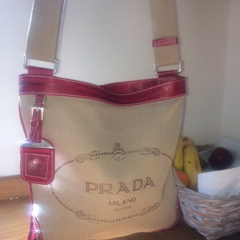 594a938dbb97 100% authentic PRADA vintage jacquard red leather   canvas - - Depop