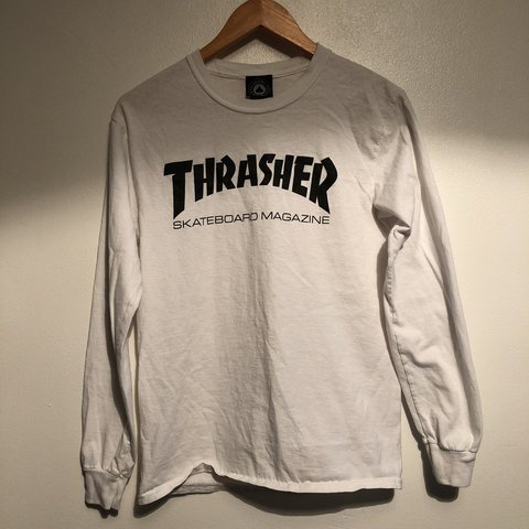 5a2458557ec5 @chacesclothes. last year. Reading, United Kingdom. White Thrasher long  sleeve T-shirt. Size small.