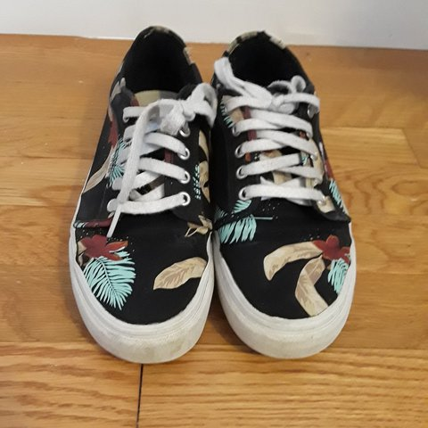 2d1607b8ad Black vans with Hawaiian esq. Leaves and flowers size 9 in - Depop