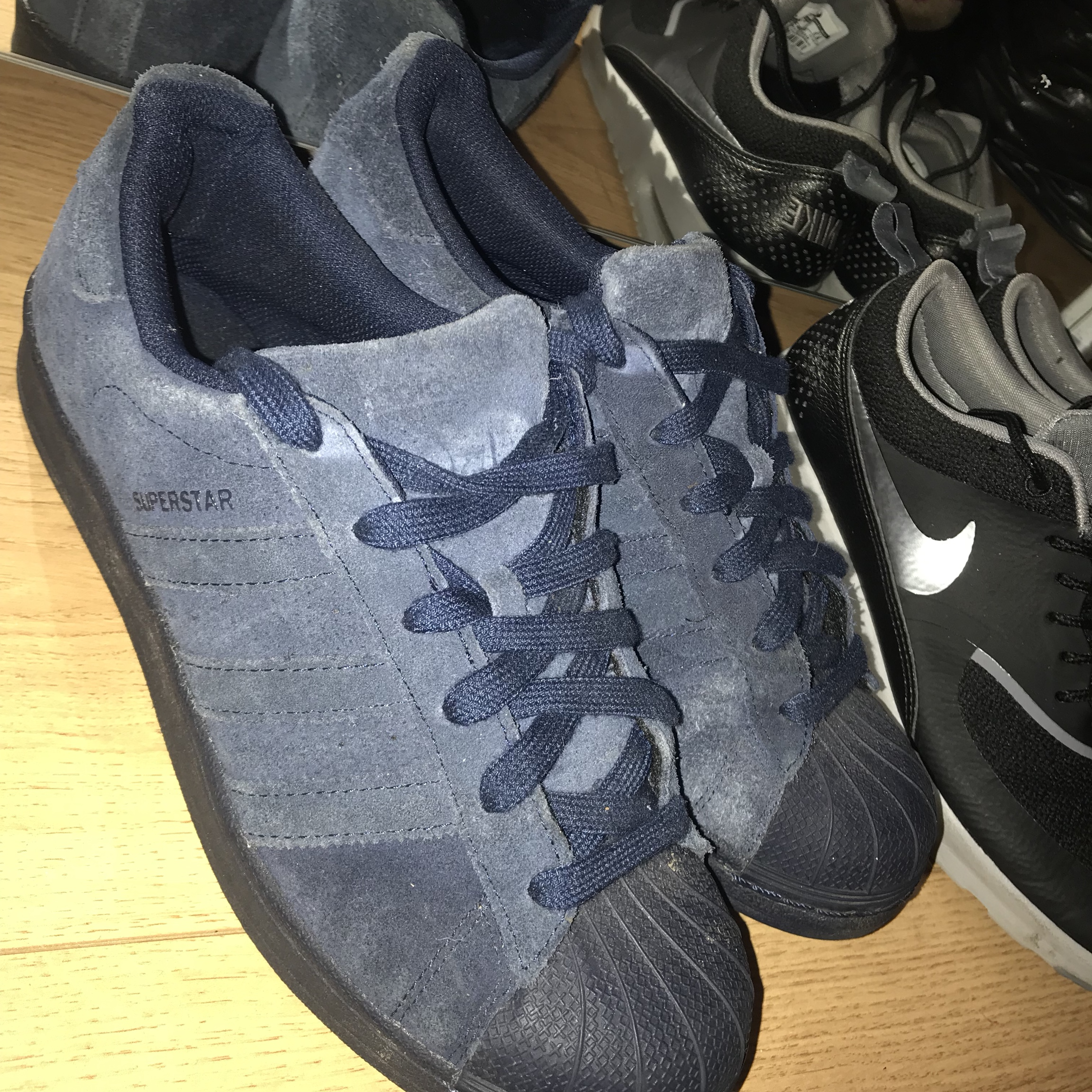 Adidas Superstar blue suede trainers, hardly ever Depop