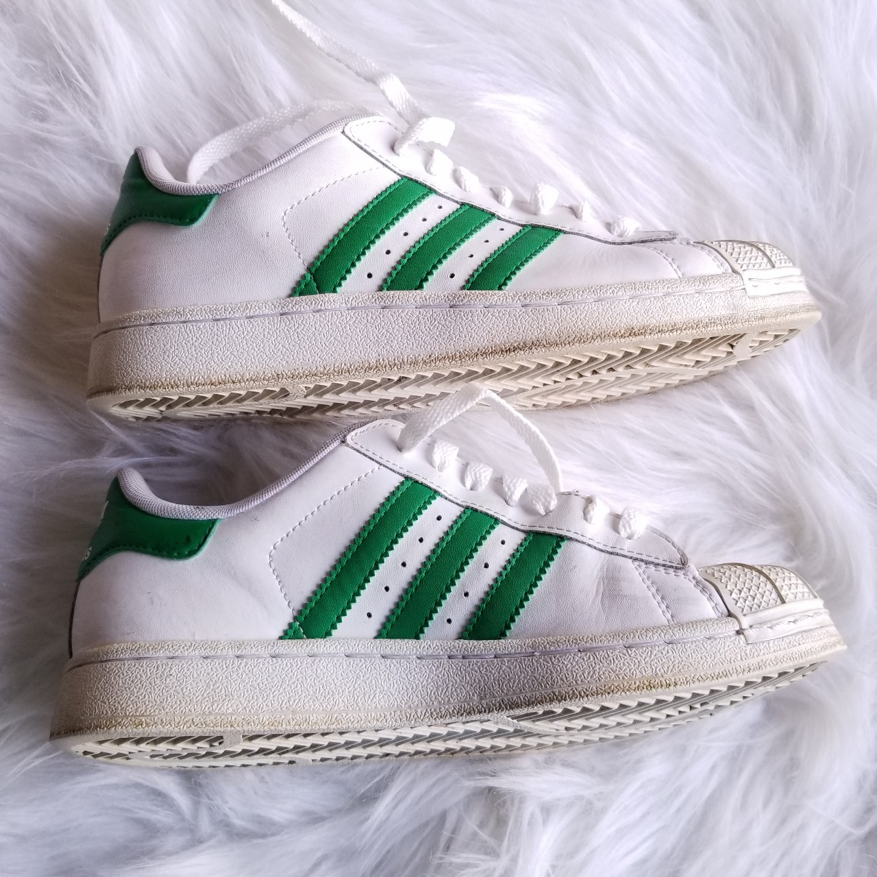 On Hold!!!! White leather Adidas Superstar Shells Depop