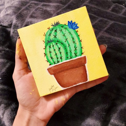 Small Cactus Acrylic Painting With Yellow Background Draw Depop