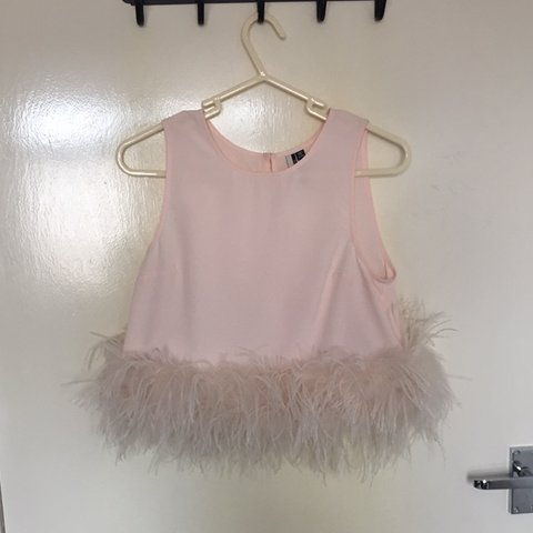 8b5e1f0a7f1 Topshop ostrich feather trim/trimmed pink crop/cropped top - Depop