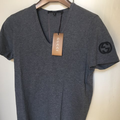 cee79c0cfdb GUCCI Original t-shirt V grey cotton Vintage  90. Size S on - Depop