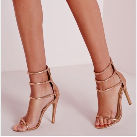 971c9ad37922 Missguided rose gold 3 strap heels. Worn once. Size 5 - Depop