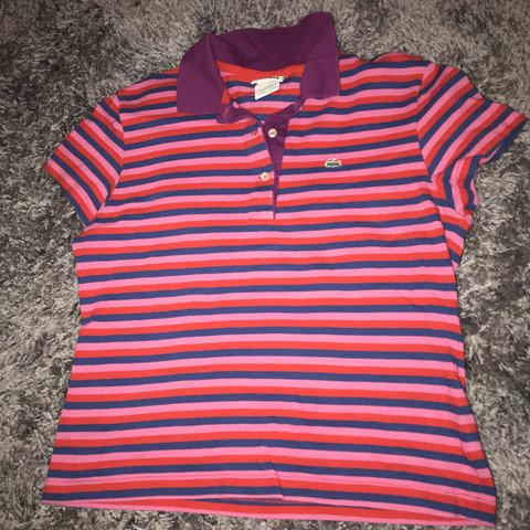 4315eaea5 Lacoste striped polo shirt. Would look great as a crop Size - Depop