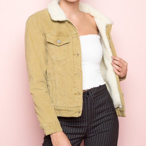 Brandy Melville Shaine Light Tan Corduroy Jacket With Fur I Depop