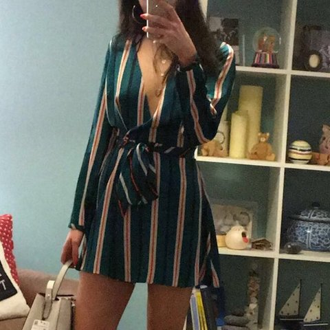 5bb2e4859e1c Zara silk green red and white striped playsuit with skirt so - Depop