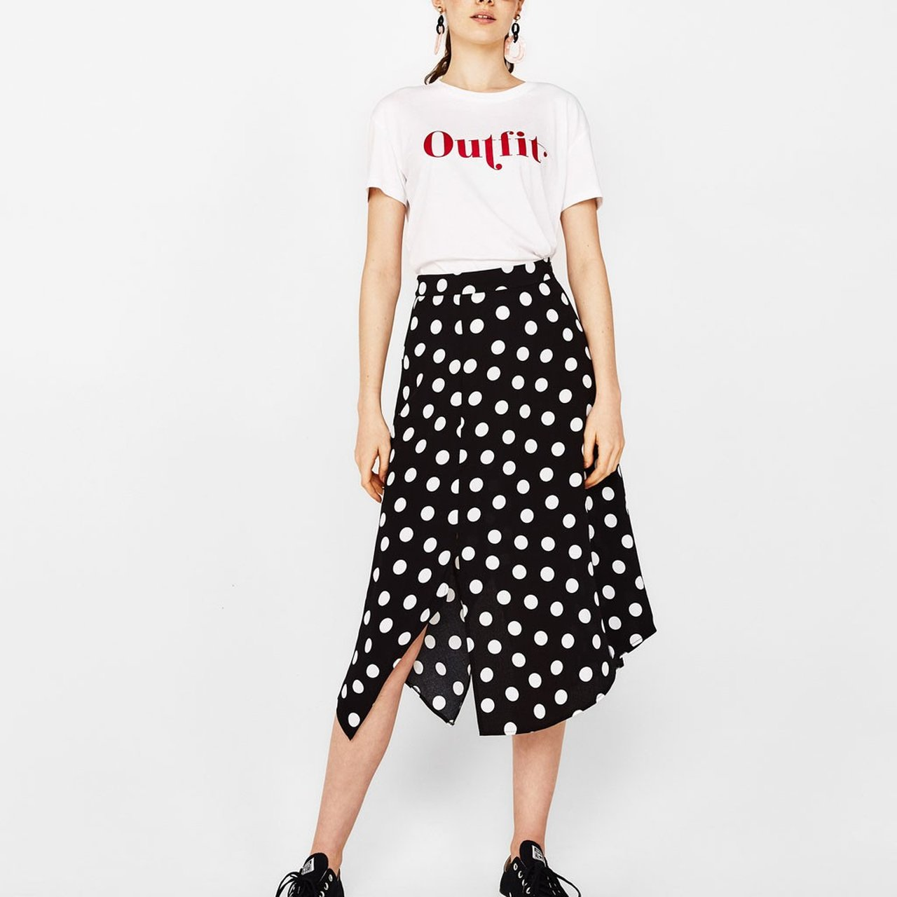 58fa8deb6 Black And White Spot Midi Skirt | Saddha