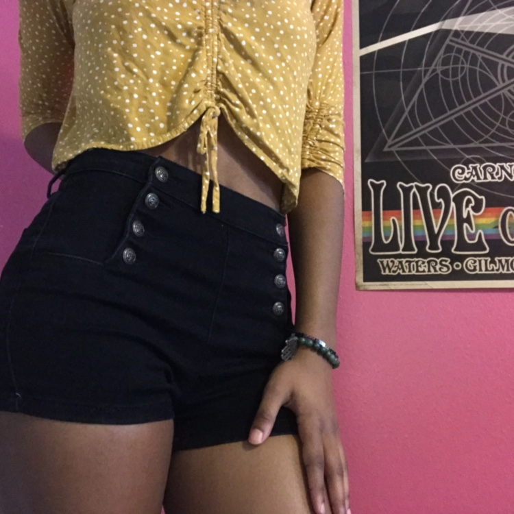 black high waisted shorts with gold buttons