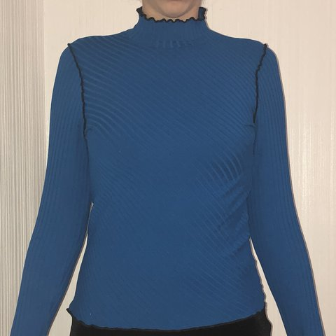 b8034575492b46 @carlsscloset. 4 months ago. Freeport, United States. Vibrant blue turtle  neck with diagonal ribbed knit
