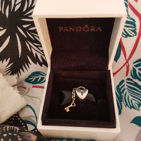 4eb5f0ff3 Pandora charm 'key to my heart' sterling silver and 14ct for - Depop