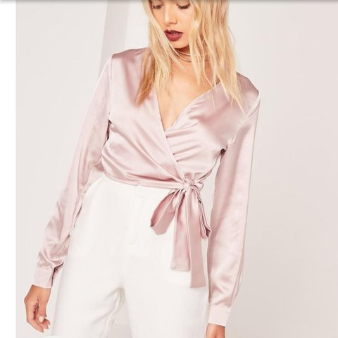 d0703cb53118a2 Missguided pink silk wrap top Really nice but just too for - Depop