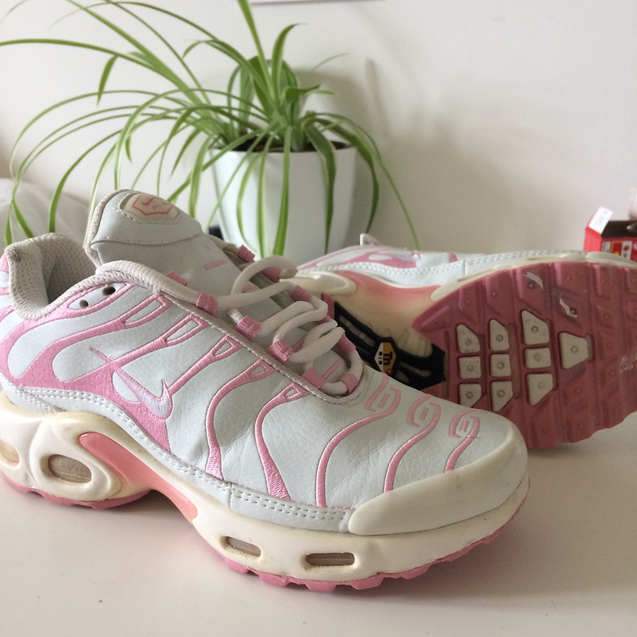 competitive price a7d13 51f51 Y2k Baby pink & white Nike Tns trainers w/... - Depop