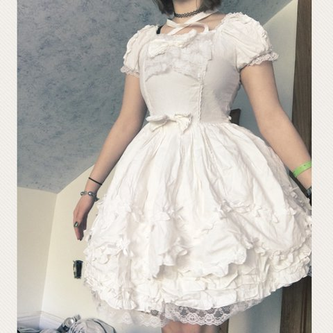 8b29af46e0 definitely open to trading 💕 White Lolita dress. I bought - Depop