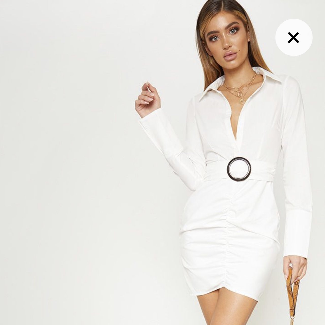 80b4effd96158 White Plunge Ruched Tortoise Belted Bodycon Shirt little - Depop