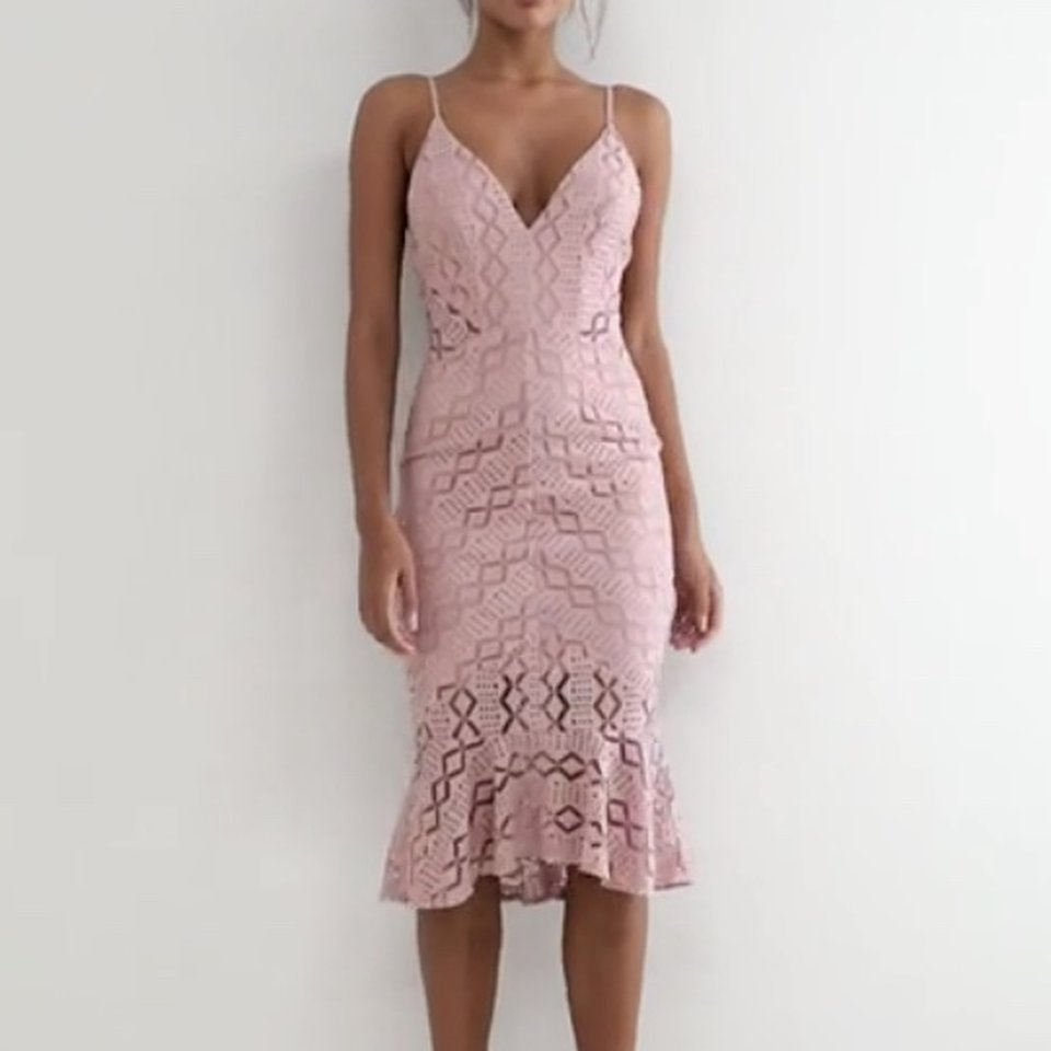 Asos Pink Love Triangle Cami Strap Lace Dress With Depop