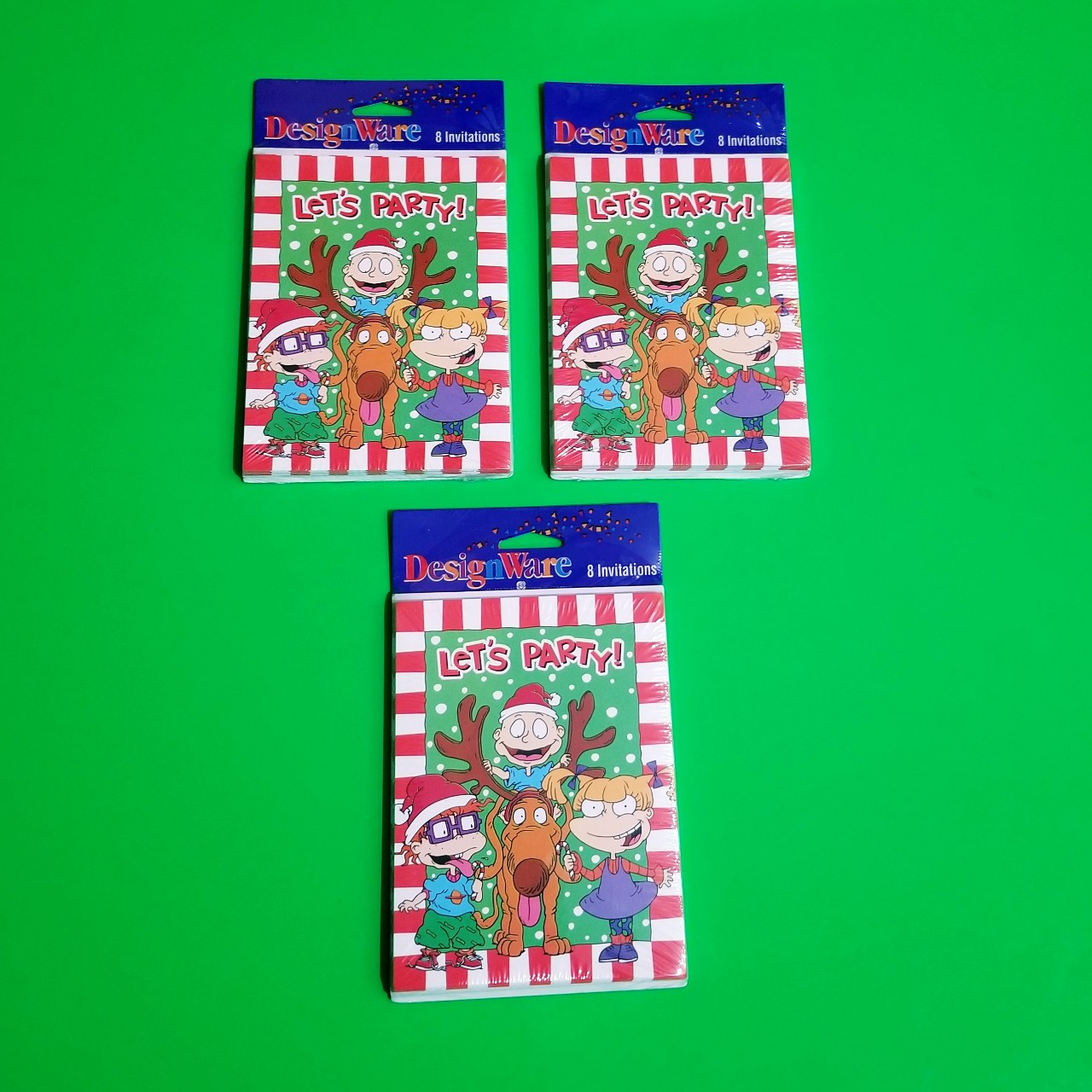 Rugrats Christmas.Vintage 90s Rugrats Christmas Party Invitations Depop
