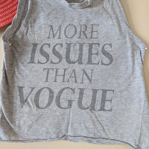 ac31da36721e8 More Issues Than Vogue crop top. Well worn. Would fit xs-s - Depop