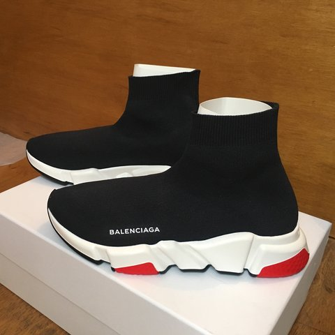 412f0ed03561 BRAND NEW Women s Balenciaga Speed Trainers Mid Red Black - Depop