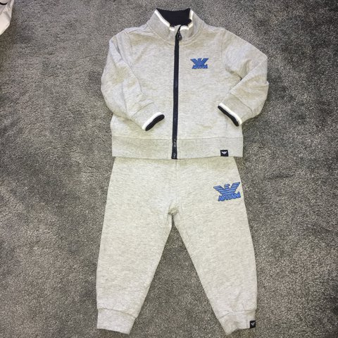 54194c572 Armani Baby Boys Grey and Blue Tracksuit 12 months. Worn but - Depop
