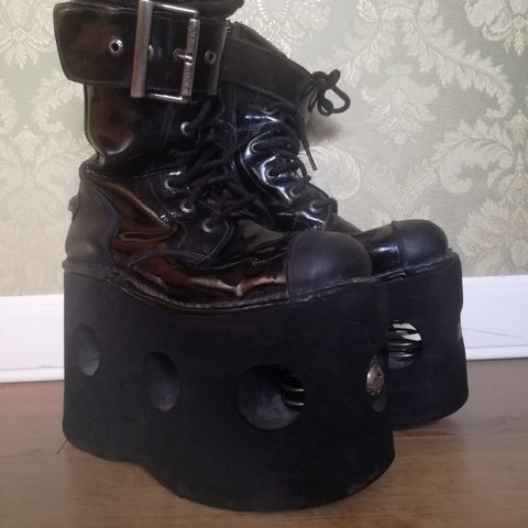 81d65499a578 90s New rock boots Neptuno platforms with springs Black worn - Depop