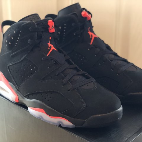 a2c17780b0f nike air jordan 6 retro black infrared Uk 11 EUR 46 US IN - Depop