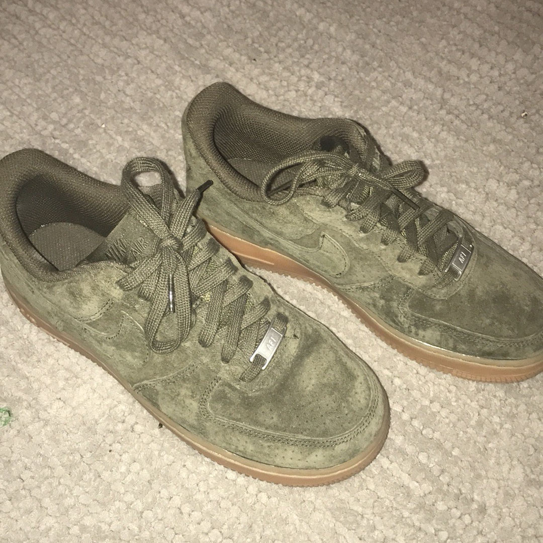 Nike Air Force Ones Olive green suede