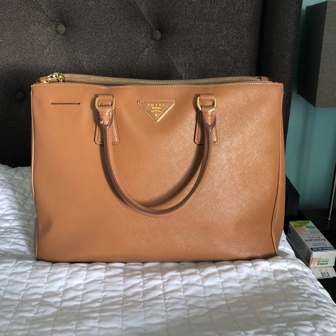 a5cf2e319378 @mchoe. last year. Los Angeles, United States. Prada saffiano lux large  double zip tote in caramel color.