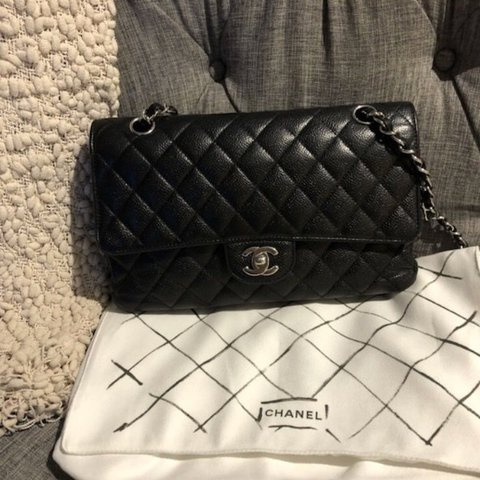 7aa24224cb88 @sleechamp. last year. Los Angeles, United States. Beautiful authentic  Chanel Caviar Double Flap bag in black medium size with Silver hardware.
