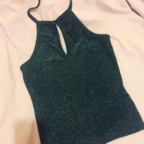0680c854339761 Size 10 emerald green sparkly halter neck backless top with - Depop