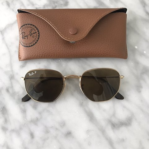 fa44a3d7bfb0c Ray Ban Hexagonal brown Polarized sunglasses. Great no These - Depop