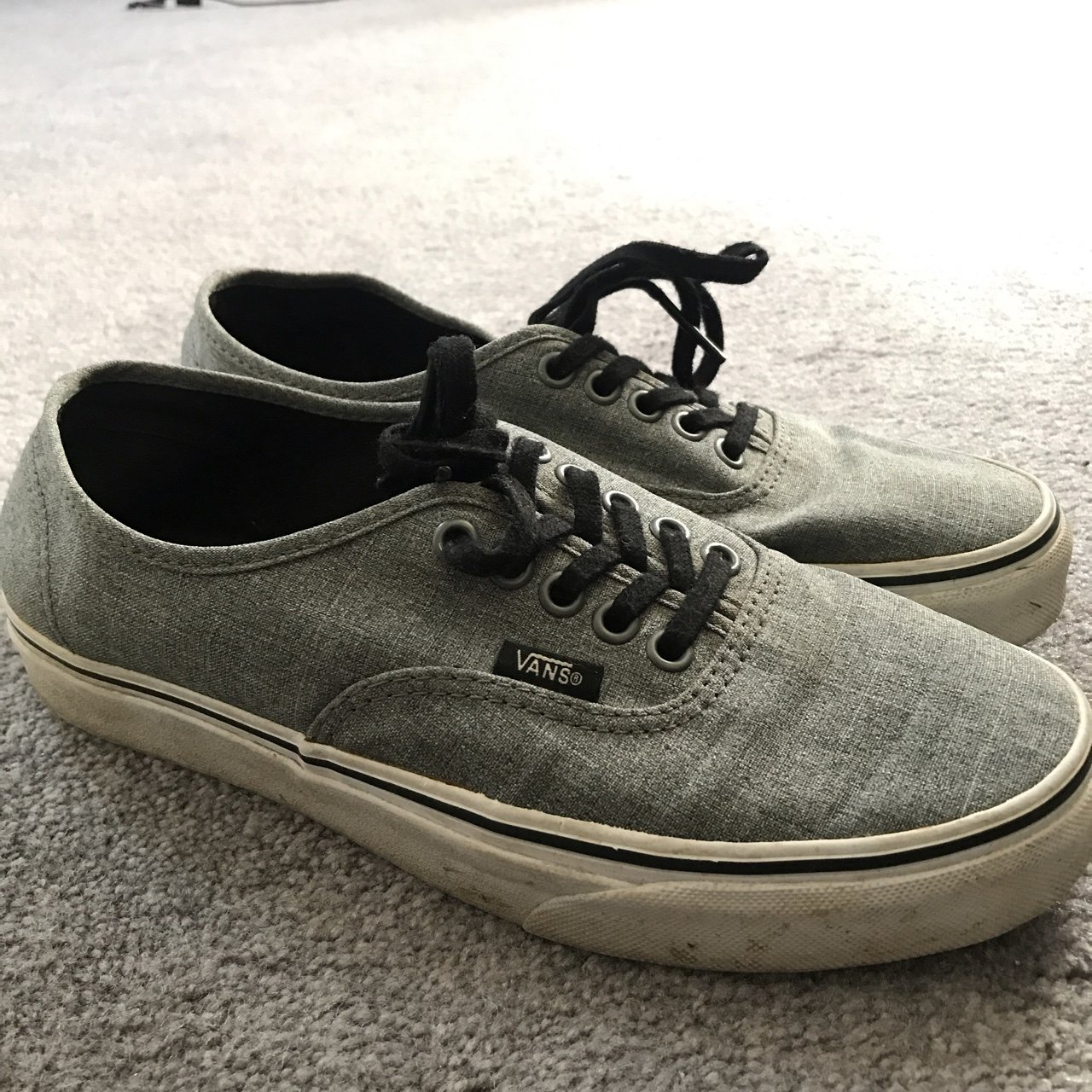 20ea62477f1 Gray Vans Great condition just a little dirty at on the Can - Depop