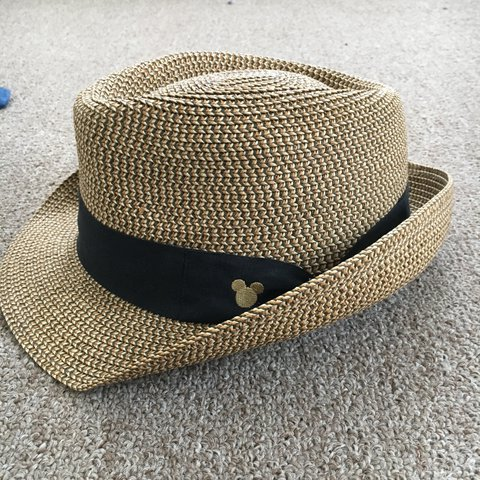 Tan Disney fedora with black band with Mickey silhouette. - Depop 4a2f1ce298d