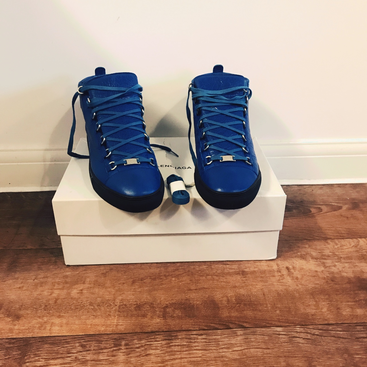 new balenciaga arena blue leather hi top sneakers nwt