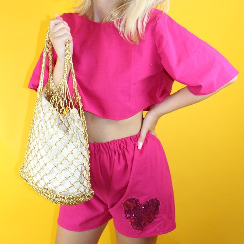 191fc11d83d Hot pink linen co-ord with sequin heart on the shorts. This - Depop