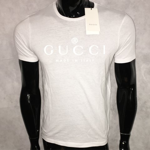 cac33dcc @danlilly99. last year. Croydon, United Kingdom. Gucci Made In Italy T-Shirt  In White ...