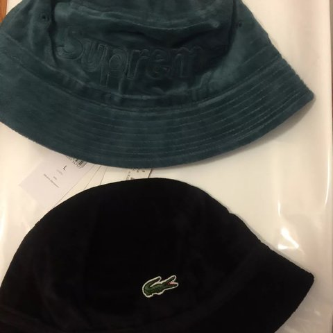 Supreme x Lacoste Velour Crusher Bucket Hat Green and with - Depop 9ca897302aa