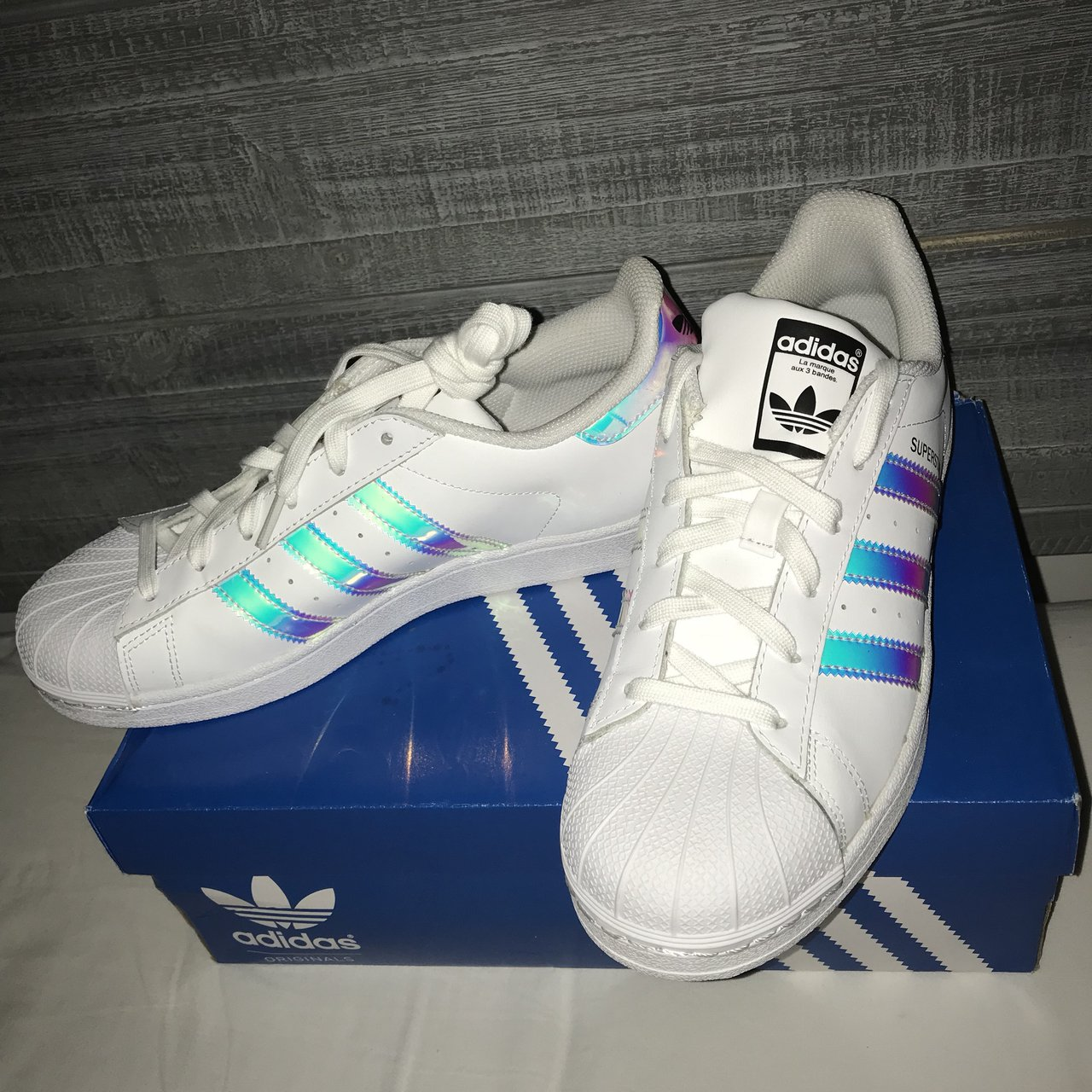 799899097ff Adidas Superstar J Holographic Shoes - Women - Brand new and - Depop