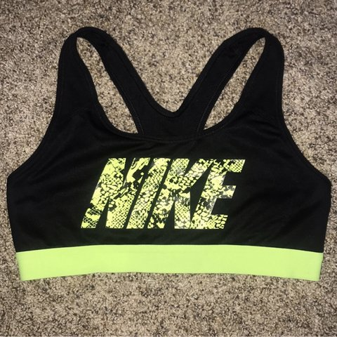 0c7af7ed92fe9 BLACK AND NEON NIKE SPORTS BRA size small TAGS  nike - Depop