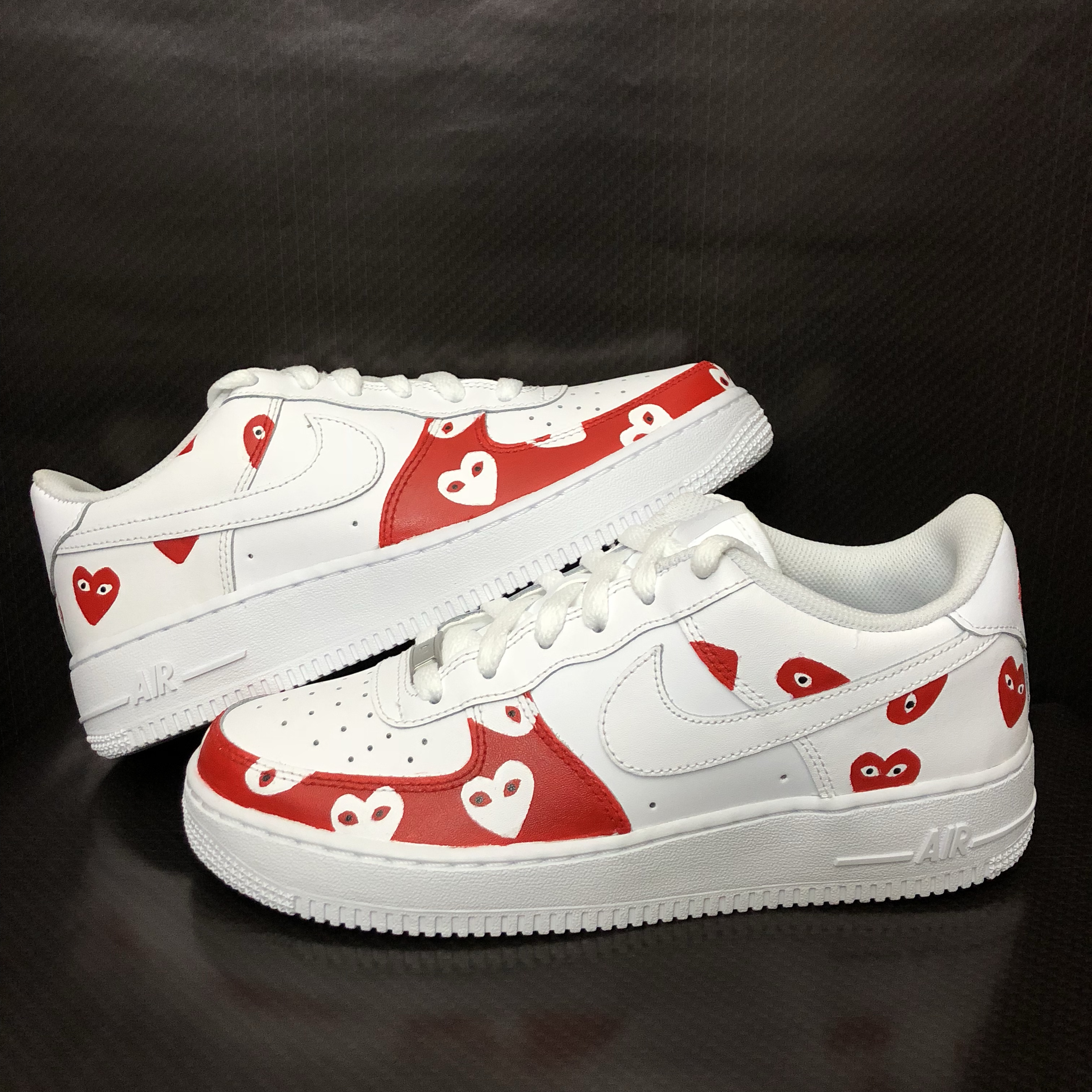Custom Nike Air Force 1 with red CDG Comme des Depop