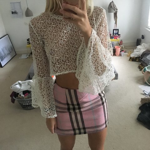9aa91b6009302 ON HOLD The ragged priest white flares sleeve top Crochet - Depop