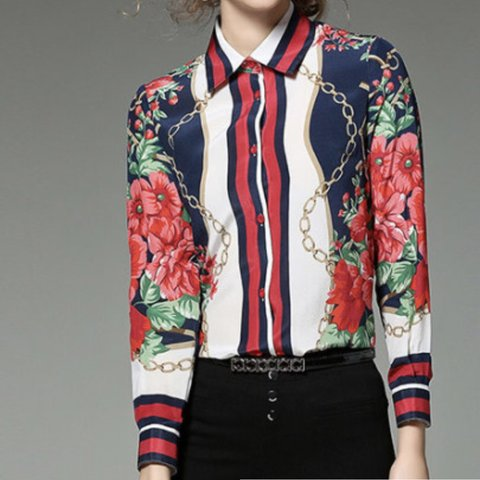 1fa798d1afa6ea Vintage style floral chain shirt . Instantly create a Gucci - Depop